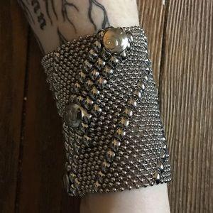 Silver mesh cuff bracelet